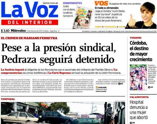 Arrestaron a pedraza portada de diarios blog de lea for Lavoz del interior cordoba