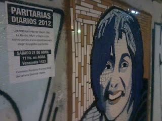 Zona donde se convocó la asamblea. El retrato es de Ana Ale, última secretaria general de Clarín hoy fallecida. Foto: Colectivo de Trabajadores de Prensa.