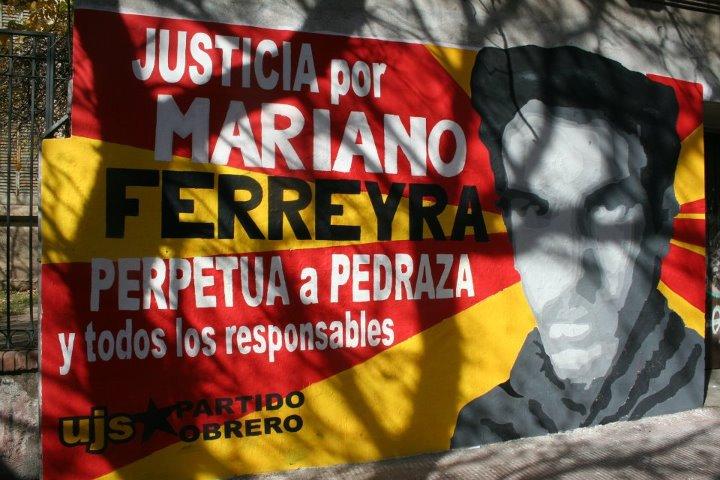 Mural por Mariano en Córdoba, hecha por la Comisión artística de la UJS