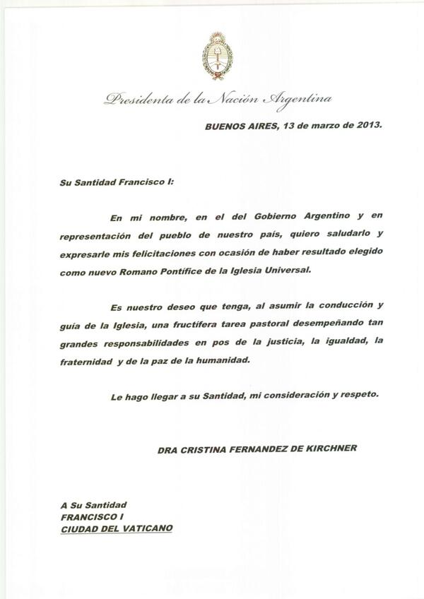 Carta de la presidenta Cristina Fernández al nuevo papa.